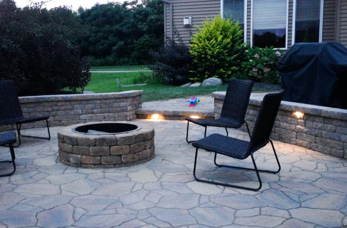 Patio addition with fire pit